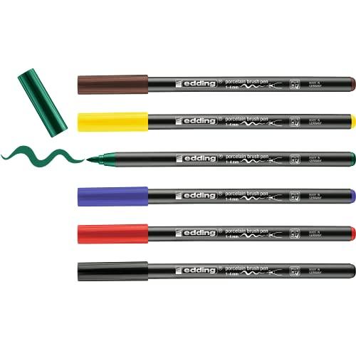 edding 4200 Porzellanpinselstift - bunte Farben - 6 Stifte - Pinselspitze 1-4mm...