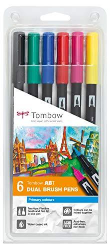 Tombow ABT-6P-1 Fasermaler Dual Brush Pen mit Zwei Spitzen 6er Set,...