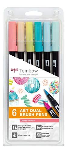 Tombow ABT-6P-4 ABT Dual Brush Pen mit zwei Spitzen Candy Colours 6St