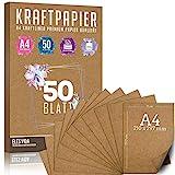 50 Blatt Kraftpapier A4 Set - 260 g - 21 x 29,7 cm - DIN Format - Bastelpapier &...