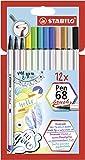 Premium-Filzstift mit Pinselspitze für variable Strichstärken - STABILO Pen 68...