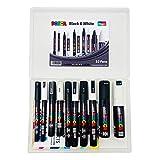 Posca Easichalk Acryl-Farbmarker, Schwarz, Weiß, 10-teiliges Set, große...