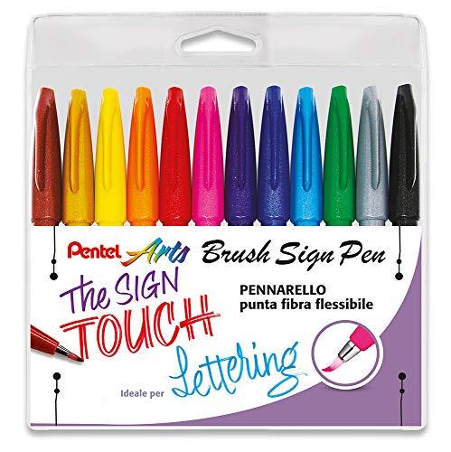 Pentel SES15C Brush Sign Pen Marker Flexible Spitze Tasche 12 Farben