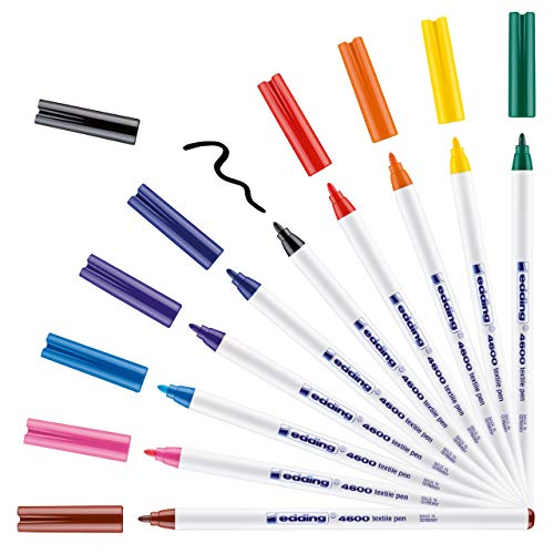 edding 4600 Textilstift - 10 Farben im Set (Basic) - Rundspitze 1 mm -...