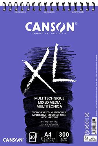 CANSON XL Mix-Media Block, DIN A4, 30 Blatt, 300 g/m²
