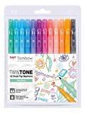 Tombow WS-PK-12P-2 Twintone Marker Set 12-Pack, Dual-tip, pastel, bunt