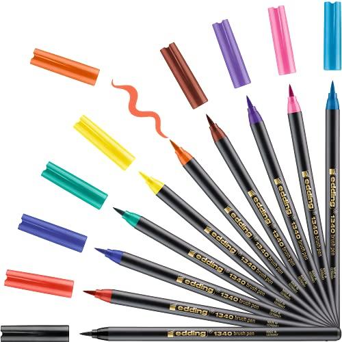 edding 1340 Pinselstift - 10er Set - bunte, leuchtende Farben - flexible...