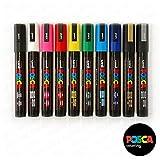 Uni-Ball POSCA PC-5M [10 Pen Set] includes 1 of each - Black, White, Pink, Red,...