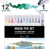 STATIONERY ISLAND Pinselstifte 12 Farben + 1 Wasserpinsel - Aquarell Brush Pens...