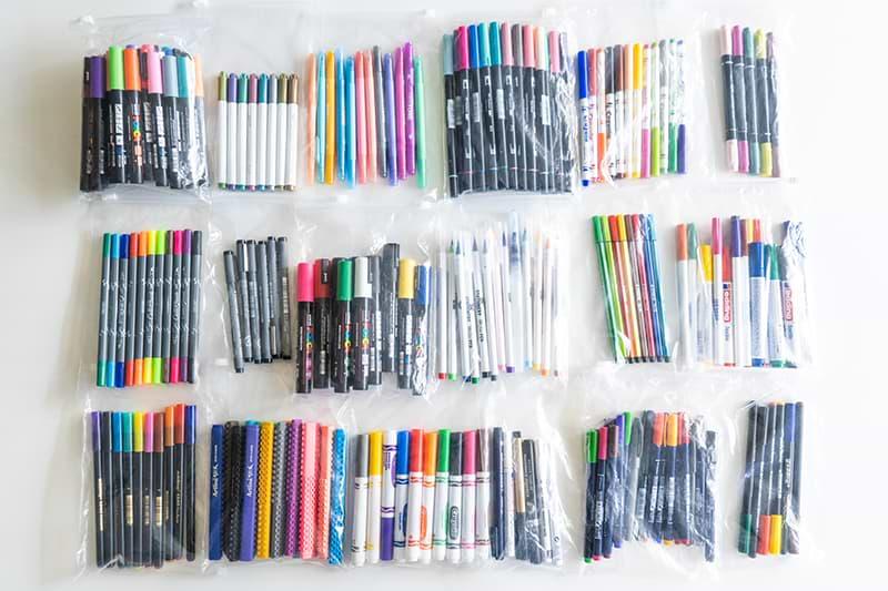 Viele Handlettering Stifte in Beuteln