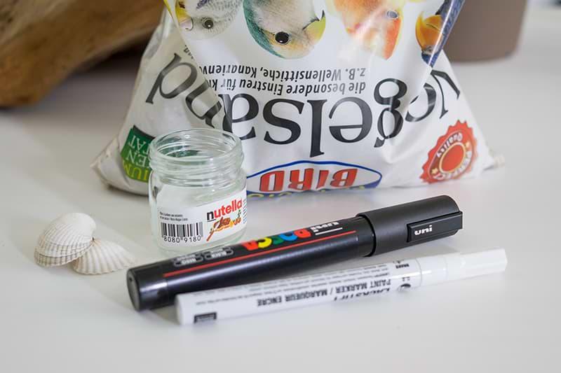 Vogelsand, Stifte und Glas