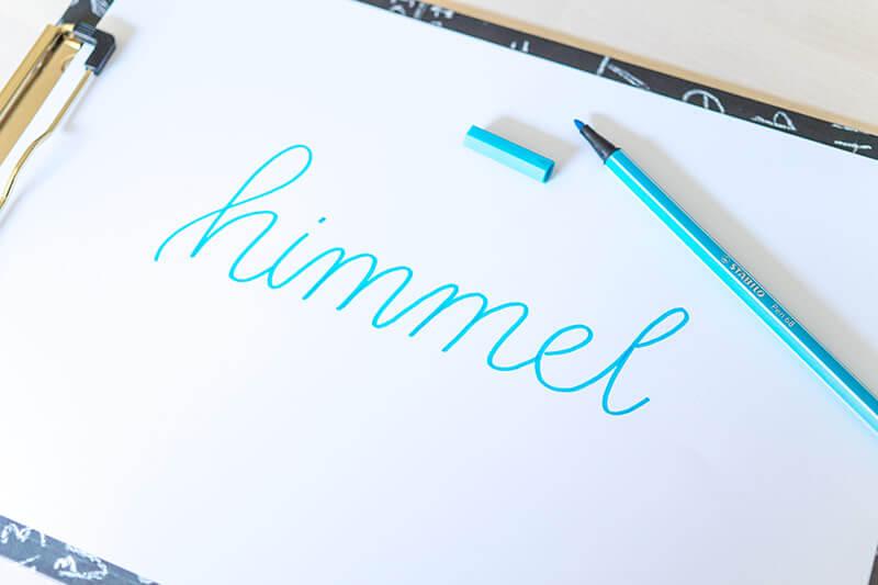 Faux Calligraphy Schritt 1 - Schrift als Monoline schreiben