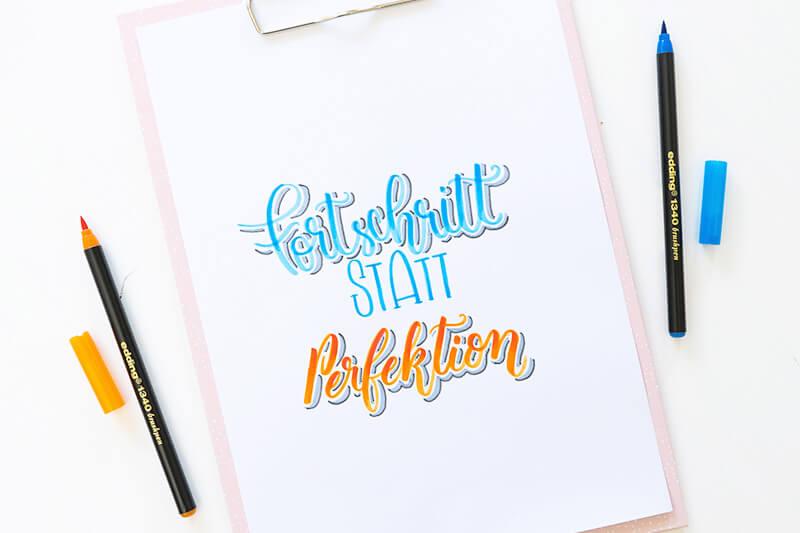 Fortschritt statt Perfektion Handlettering