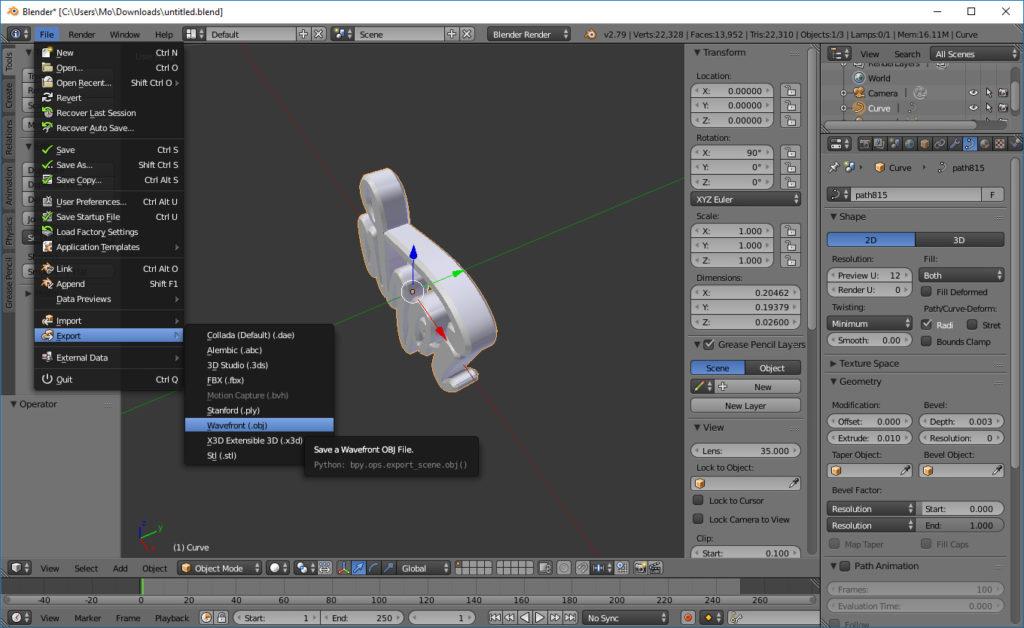 3D Objekt exportieren