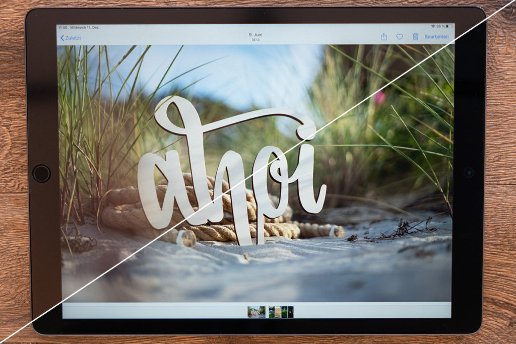 iPad mit und ohne Folie