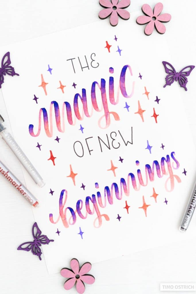 The magic of new beginnings handlettering