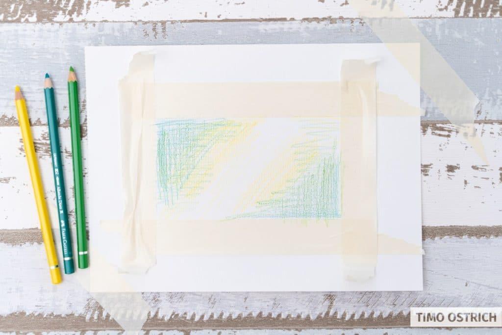 Farbauftrag durch Aquarell Stifte