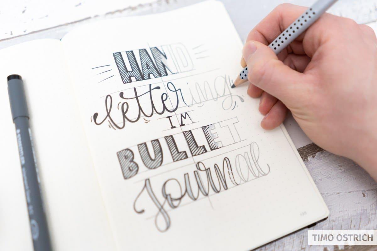 Handlettering im Bullet Journal Beispiel