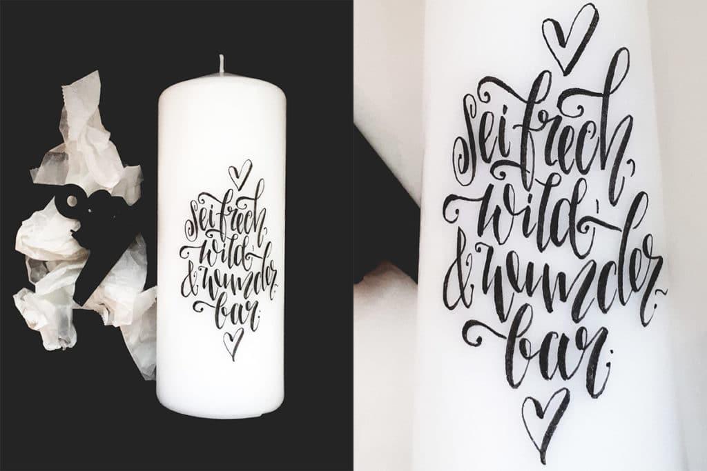 Übertragenes Lettering auf der Kerze