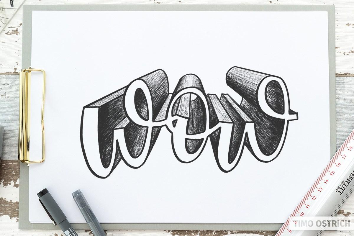 Zentralperspektive bei geschwungenen Buchstaben
