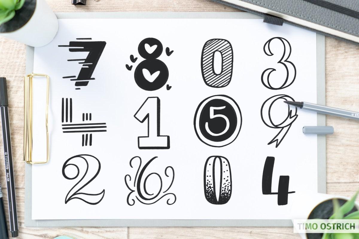 Handlettering Zahlen in verschiedenen Stilen