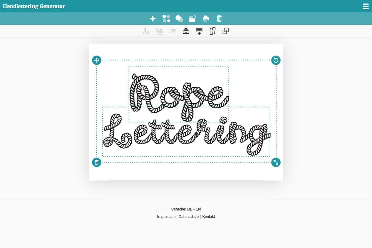 Rope Lettering im Generator