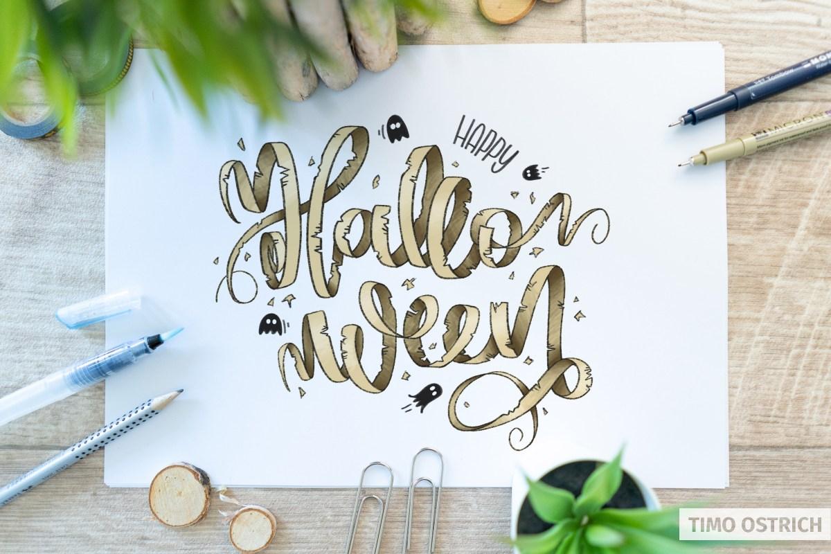 Happy Halloween Ribbon Lettering