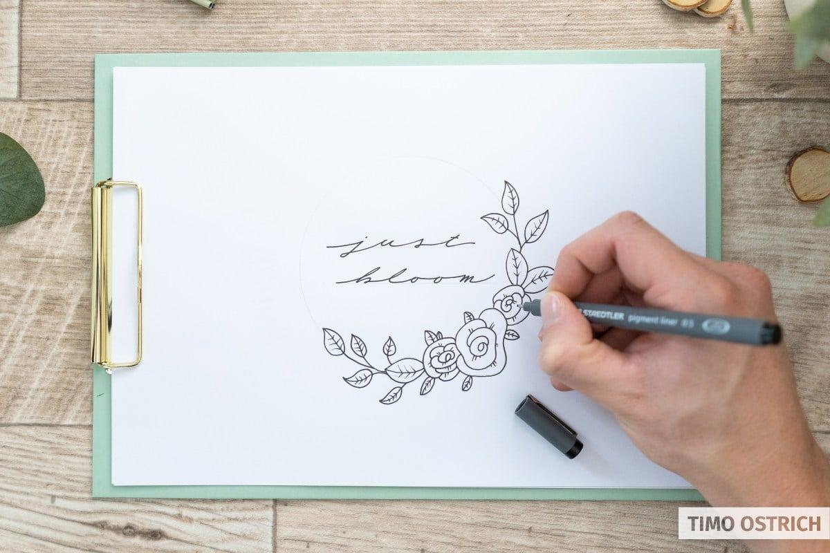 Skizze mit dem Fineliner nachziehen