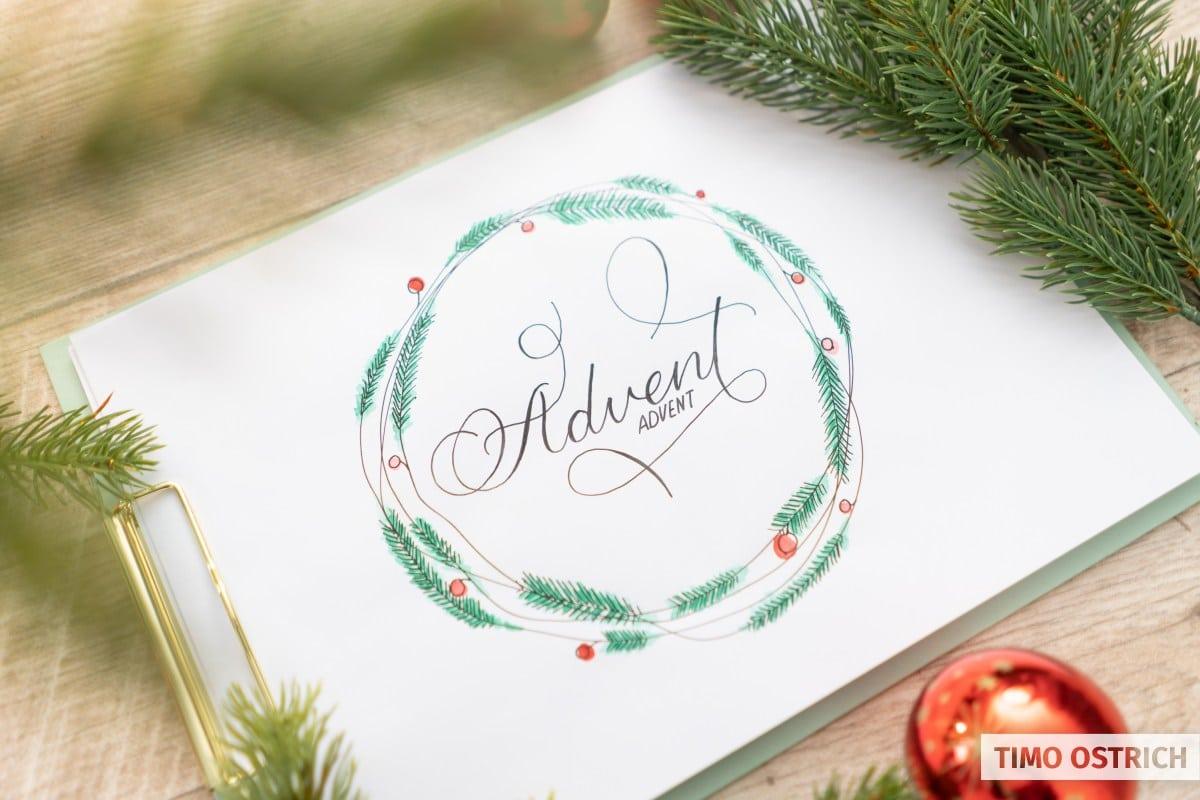 Weihnachtlicher Handlettering Kranz