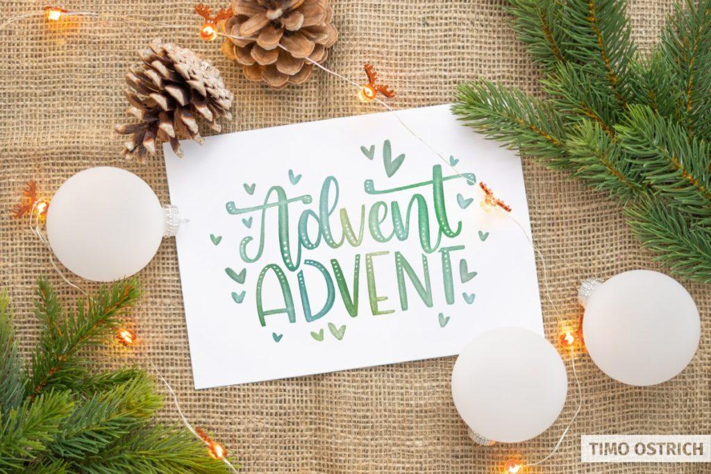 Weihnachtskarte mit Digital Watercolor