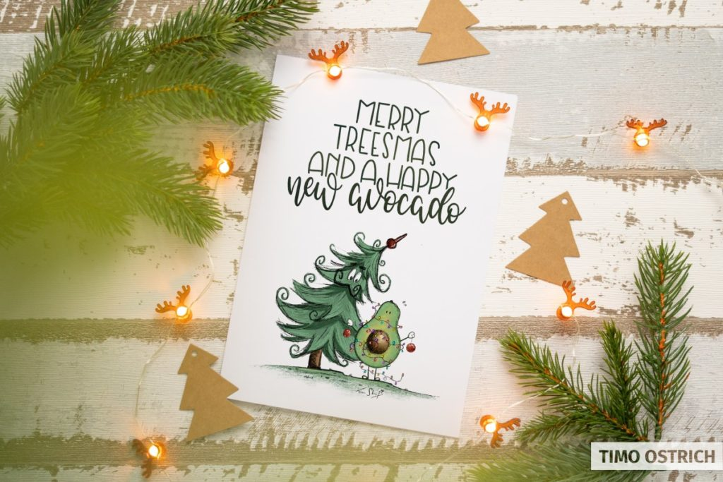 Weihnachtskarte mit lustigem Motiv