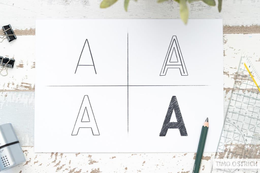 Blockbuchstaben zeichnen durch Umrandung