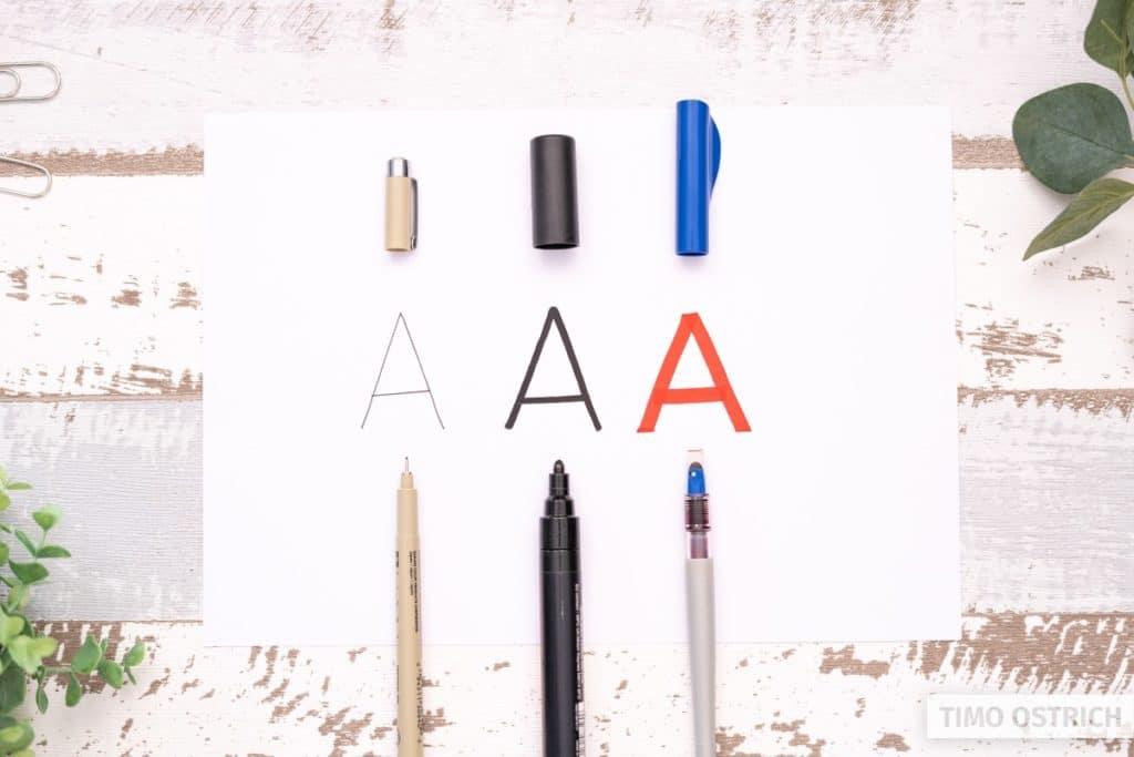 Verschiedene Stifte verändern die Optik
