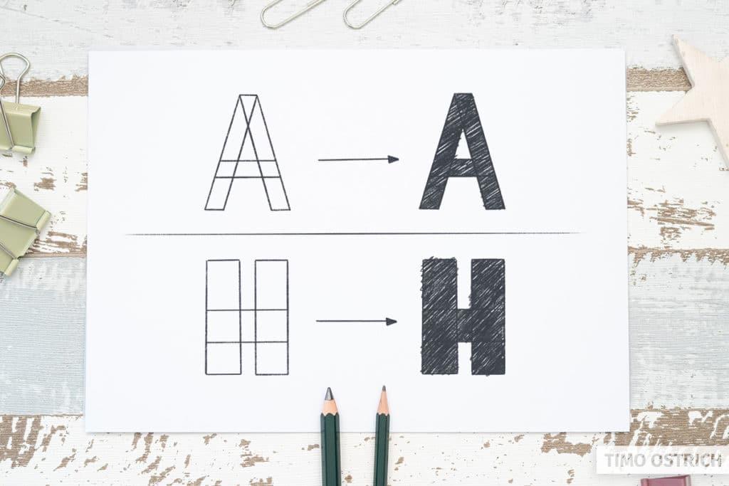 Blockbuchstaben durch Überlappung konstruieren
