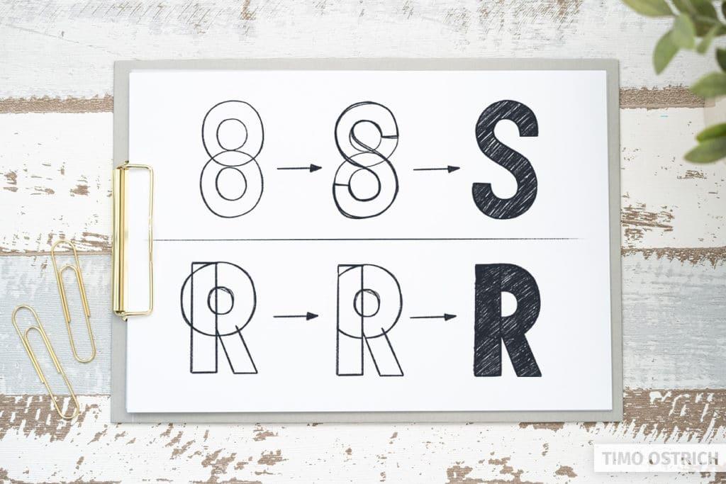 Buchstaben mit Rundungen zeichnen