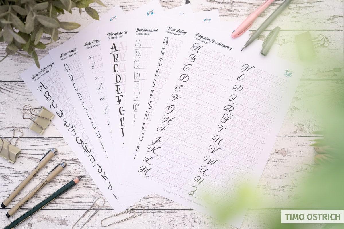 Alphabete im Handlettering Übungsheft
