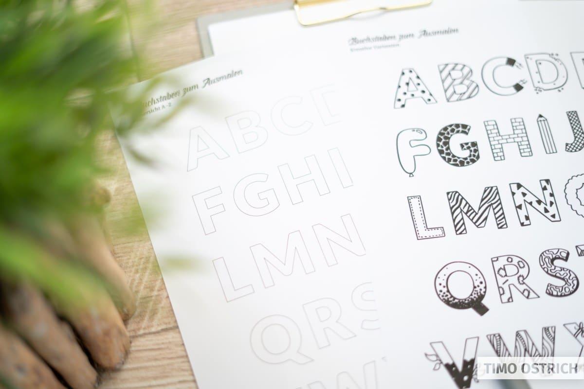 Buchstaben zum Ausdrucken und Ausmalen