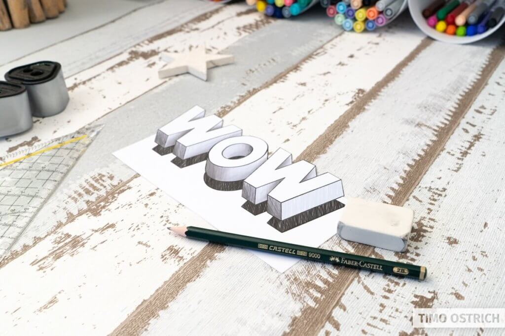 Ausgeschnittenes 3D Lettering