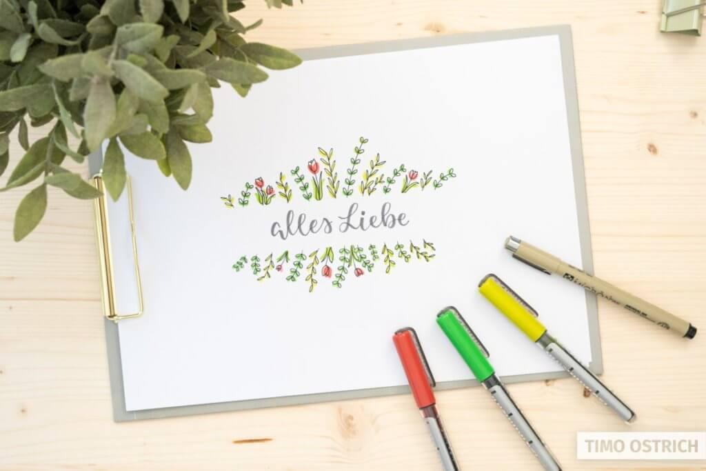 Coloriertes Handlettering