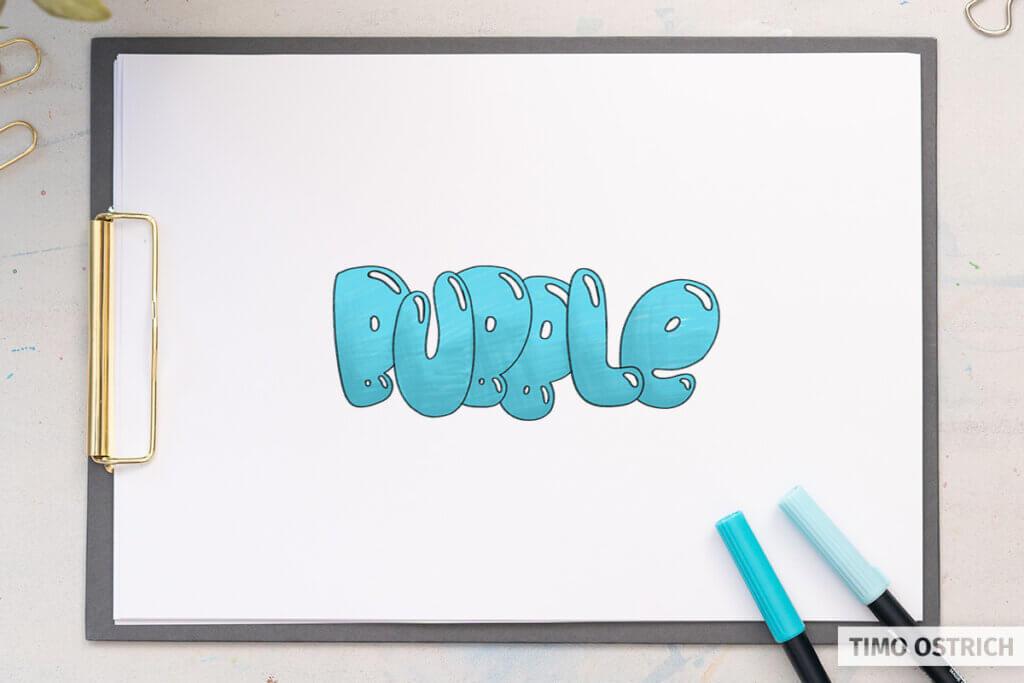Bubble Letters mit Farbe
