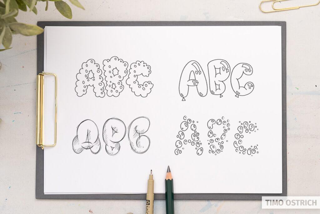 Verschiedene Bubble Lettering Stile